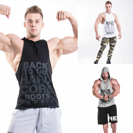 Wholesale 3xl sleeveless hoodie for sale - Group buy Men s Sports Hoodies Hooded Vest Letters Tank Tops Gym Muscle Sweatshirts Sleeveless Shirt New Fashionable Shirts Hot Selling