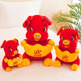 mascot toys NZ - Festive Plush Toy Doll Pig Year Mascot Lucky Fortune Doll Plush Piggy Dolls 2019 Chinese Pig New Year Dress Zodiac Animal