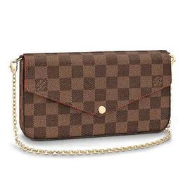 $enCountryForm.capitalKeyWord UK - N63032 Pochette Félicie Grid Pattern Brown Real Caviar Lambskin Chain Flap Bag Long Chain Wallets Key Card Holders Purse Clutches Evening