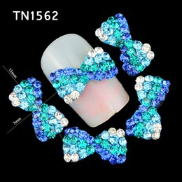 $enCountryForm.capitalKeyWord Australia - hinestones on nails Blueness 10pcs lot Glitter Blue 3D Crystal Rhinestones on Nail Art Decoration Alloy Bow Design Manicure Jewelry Supp...
