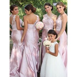 taffeta bridesmaid wedding dresses champagne NZ - One Shoulder Mermaid Wedding Guest Dresses 2019 Lace Taffeta Open Back Cheap Bridesmaid Dresses Maid Of Honor Gowns Party Dress Formal Gown