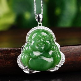 jade pots UK - pendant with a certificate of 925 sterling silver with natural jade Buddha smiling Buddha pot-bellied fo jade pendant