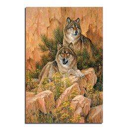 Wall stickers Wolves online shopping - Wolf on the mountain X60 DIY Diamond Painting Home Decoration Rhinestone Wall Stickers Embroidery Needlework