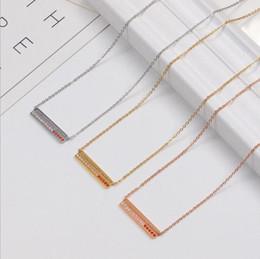 $enCountryForm.capitalKeyWord Australia - Brand diamond necklace love titanium steel 18K rose gold letter rectangle short necklace chain clavicle chain toque