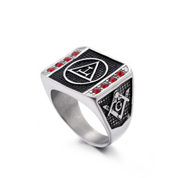 $enCountryForm.capitalKeyWord Australia - Titanium Stainless Steel Red CZ Scottish Rite Men's Unique Masonic ring compass and square Freemason championship class rings jewelry gift