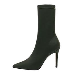 $enCountryForm.capitalKeyWord UK - Half Boots for Women Fashion Sexy High Heels Sock Boots Woman Casual Mid Calf Booties Slip on Zapatos De Mujer Black Green Khaki