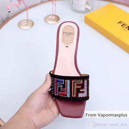 Women dog dress online shopping - Designer Luxury F Slippers Black Brown Leather Summer Dress Sandals Women Brand Slipper Casual Flip Flops With Box