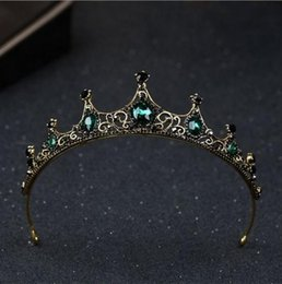 green crown tiara UK - Women Vintage Baroque Queen Crown Hair Tiara Girls Princess Wedding Party Green Diamond Hair accessories Jewelry