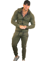 Body Fitness Suit Australia - Sportswear Tracksuits Men Sets Running Gym Tracksuit Fitness Body building Mens Hoodies+Pants Jogger Sport Suit Men Clothing