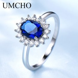 $enCountryForm.capitalKeyWord Australia - Umcho Princess Diana Rings 925 Sterling Silver Jewelry Created Sapphire Rings Best Anniversary Gift For Women Fine Jewelry J190612