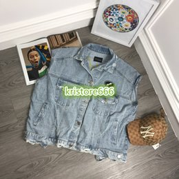 tees long winter Australia - High End Women Vintage Letter Embroidery Worn Out Short Denim Shirt Jacket Female Casual T-Shirts Girls Runway Tops Cowboy Tee Blouse Shirt