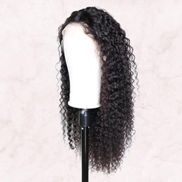 Human afro wigs online shopping - Lace Front Human Hair Wigs Middle Part Afro Kinky Curly Brazilian Remy Pre Plucked With Baby Hair For Women