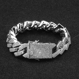 $enCountryForm.capitalKeyWord Australia - 20MM Iced Out Mens Zircon Curb Cuban Link Bracelet Hip hop Jewelry Gold Silver Thick Heavy Copper Material CZ Chain Bracelet