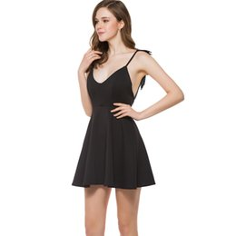 holiday gowns UK - sexy dresses for women spaghetti strap deep v neck Black a line Three-dimensional wings party holiday lady mini summer fashion dress