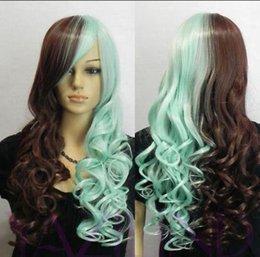 Großhandel Perücke LL Beliebte hitzebeständige Haare Lolita Half Blue Brown Mix lange gewellte Faser Haar Cosplay Daily Wear Perücke