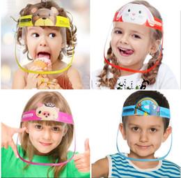 Опт Дети Cartoon Face Shield противотуманная Изоляция Маска Полный защитная маска прозрачной защита ПЭТ Всплеск Капелька Крышка головка Kid Подарков