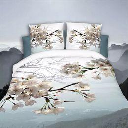 Black White Rose Bedding Australia - Romantic 3D Rose Pattern Printing Bed Sheet Pillow Cover Bedding Set