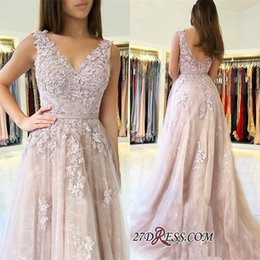 prom dress strapless black lace silk Australia - 2019 Lace Prom Dresses Long V Neckline Low Back A Line Formal Evening Gowns Cocktail Party Ball Dress Celebrity Red Carpet Gown