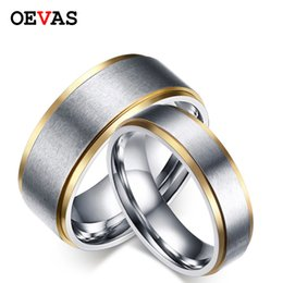 $enCountryForm.capitalKeyWord NZ - Elegant Gold color matte finished couple rings US Size 5-14 Stainless steel jewelry Engagement rings for women men wedding ring
