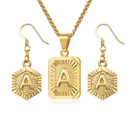 Discount jewelry set letter - Initial Letter A Z Jewelry Set For Women Gold Box Pendant Necklace Dangling Earrings Set Woman Accessories Gifts Creativ