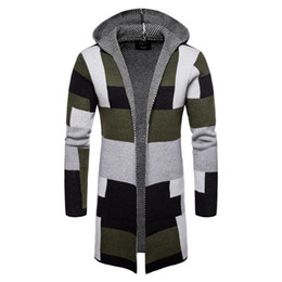 Mens Cardigan Sweaters Thick Wool NZ - Long Cardigan Men Sweater Knit Thick  Winter Hooded Mid 9fbea834d