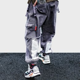 DistresseD cotton online shopping - Men Hip Hop Cargo Pant Pockets Harem Pants Harajuku Streetwear HipHop Baggy Denim Pant Tatical Trousers Distressed Fashion