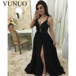 v neck lace slit chiffon Australia - gala jurken Sexy Black Lace Chiffon Arabic Evening Dresses 2019 Illusion V-Neck Special Occasion Gowns Side Slit Customized N45
