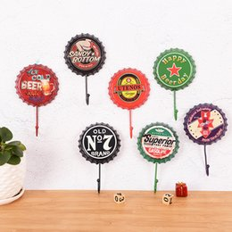 sundry bottle Australia - 1PC Personalized Durable Retro Beer Bottle Cap Wall Hanging Hooks Soft Decors Door Back Cloth Hooks Clothing Shop Bar Wall Decor