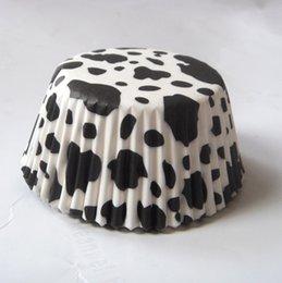 mucca bianca / zebra / stampa animalier leopardo banda Camouflage Cupcake Liner muffin cottura Cup cake mold 200 pz / set in Offerta