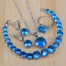 $enCountryForm.capitalKeyWord NZ - Promotion Big round Sky blue cubic zirconia 925 silver costume jewelry sets for women round bracelet necklace earrings ring