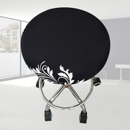 Wholesale Stools Chairs Australia - Slipcover Meeting Seat Bar Stool Cover Floral Printed Elastic Ornament Office Round Chair Soft Polyester Four Seasons Home