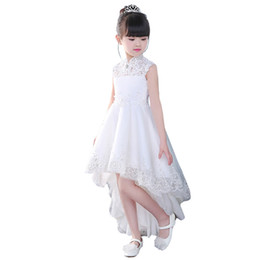 Ankle Length High Neck Wedding Dresses UK - New 2019 Girls'Back Hollow Flower Dress Flower Boy High-end Wedding Dress Elegant Girls' Flower-lace Banquet Dress