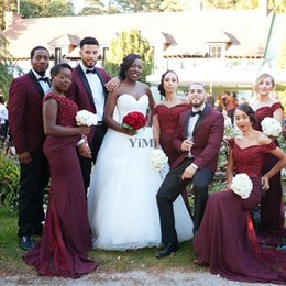 Pictures Black Coral Beads Australia - African Burgundy Mermaid Bridesmaid Dresses Off Shoulder Backless Sweep Train Appliques Beads Garden Country Black Girl Wedding Guest Gowns