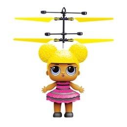 wholesale toys helicopter NZ - Promotion Big eyes doll RC Drone Flying copter Ball Aircraft Helicopter Led Flashing Light Up Toys Induction Electric Toy LED Gadget