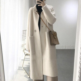 Wholesale women s pure cashmere sweater for sale - Group buy genuine mink cashmere sweater women pure cashmere cardigan knitted mink jacketn winter long fur coat DC486