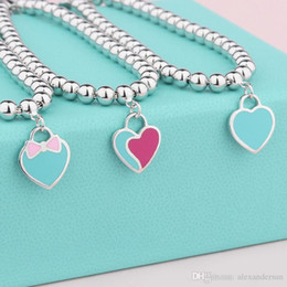 $enCountryForm.capitalKeyWord Australia - Hot sale S925 Sterling Silver beads chain bracelet with enamel green and pink heart for women and mother's day gift jewelry Bangles
