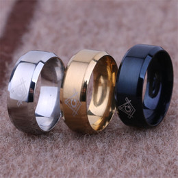 Discount mexican wedding rings - Stainless Steel Freemasonry Ring Freemason Sign Ring Women Men Rings Designer Rings Silver Gold Fashion jewelry Will and