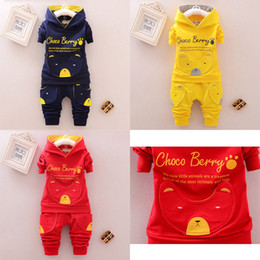 Wholesale 4t yellow hoodie for sale – designer 2019 America and Europe pop Spring style cotton round collar hoodies bear pattern suit with long sleeve and trousers for boys and girls