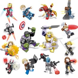 block wars Australia - 16pcs Avengers 3 Infinite War Superhero Iron Man Green Giant Rocket Thunder Thanos Black Panther Spiderman Groot Building Blocks Toy Brick