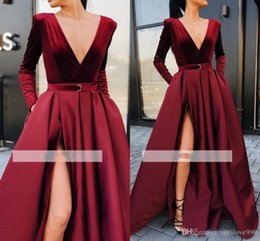 deep burgundy evening dresses Australia - Burgundy Split Evening Dresses 2019 New Sexy A Line Prom Dresses Deep V-Neck Long Sleeves Sash Belt Long Party Gowns