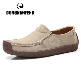 grey suede flats ladies Canada - DONGNANFENG Gril Female Women's Cow Suede Genuine Leather Shoes Flats Slip On Woman Lady Loafers Slip On Mocasines Mujer AM-526