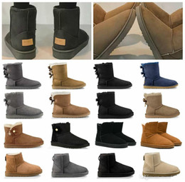 cheap spring boots Canada - Australia 2020 Newest Arrivals Winter Snow Boots Women With Box Classic Tall Leather Bailey Bow Girl Shoes sz5-10 Wool Fur Cheap Price Boot