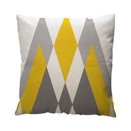 $enCountryForm.capitalKeyWord Australia - Pillow Case Cover Square 45cm*45cm Linen Pillow Cases Bedding Yellow Geometric Pattern Throw Home Decor Cotton Linen L614