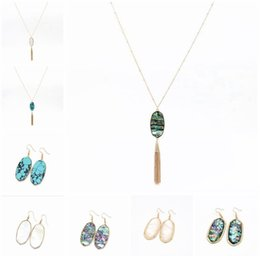 Wholesale 8 Styles Kendra Druzy Hexagon Stone Pendant Tassel Kendra Scott Hexagon Oval Shell Turquoise Necklaces Earrings New York MKI Brand Jewelry