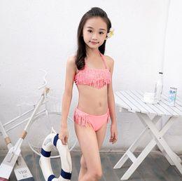 f42c9e5d75a47 7-16 years big girls swimsuit rhinestone Tassels children bikini set kids girl  swimwear summer beach clothes