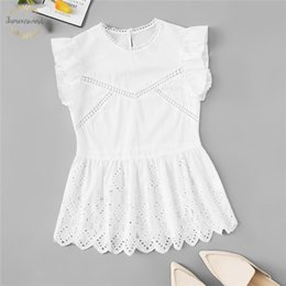 White peplum top sleeveless online shopping - White Ruffle Blouses Cut Out Peplum Blouse Women Summer Cute Fashion Clothing Womens Tops And Korean