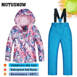 Winter Snow Suits Australia - MUTUSNOW Girls Ski Suit Children's Brands Thick High Quality Skiwear Windproof Waterproof Snow Warm Child New Winter Snowboard Suit FSHY
