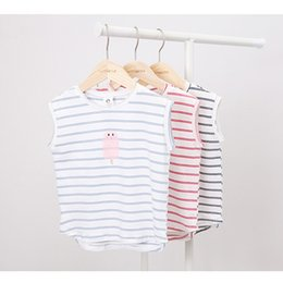 55567776 Boys girls summer casual t shirts kids o-neck sleeveless cool t-shirt baby  all match striped printed tops children clothes 2-7T