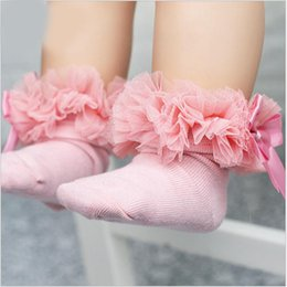 Wholesale Kids Tutus Australia - 35079 2-6Y Kids Tutu Socks Short Baby Girls Socks Princess Silk Ribbon Bowknot Lace Ruffle Cotton Ankle Socks Photography Props