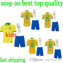 b0f122990 Kids Kit Brazil Soccer Jersey 2019 World Cup Set Brazil KIT 10 NEYMAR JR Football  Shirts 9 G.JESUS 11 P.COUTINHO Soccer Jersey Kit+Socks